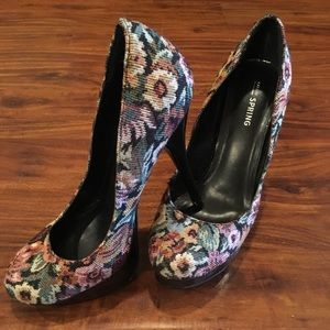 Shoes - Floral High Heeled Pumps